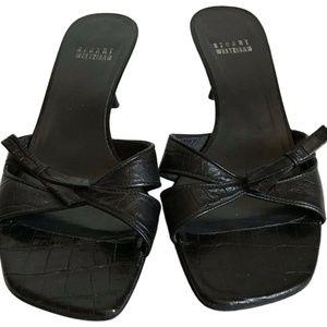 STUART WEITZMAN Black Croc Embossed Strap Sandals